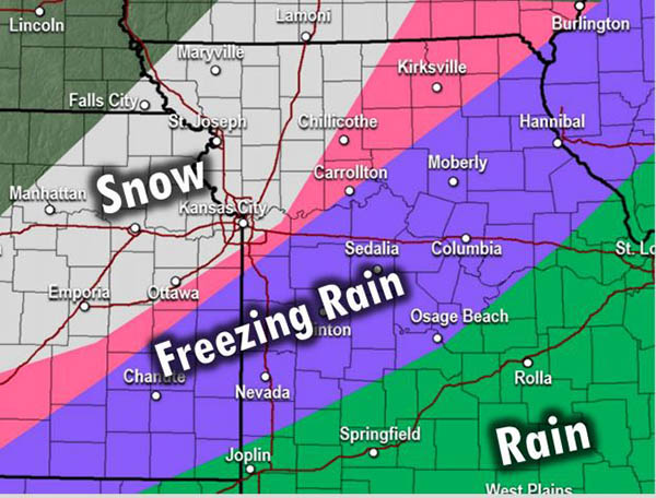Types of Precip for storm on 12-31-2020