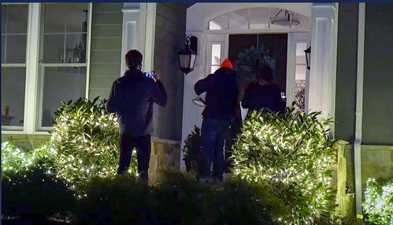 Screen Capture of protest video arriving at Senator Hawley's home