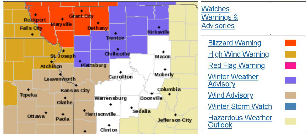 Weather advisory outline map