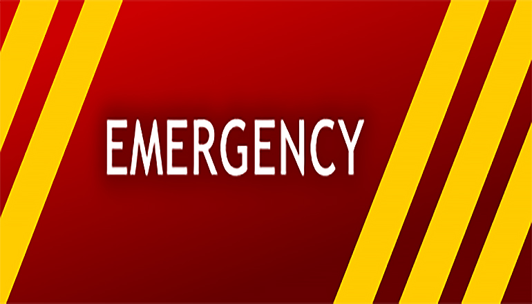 Emergency Sign with Stripes