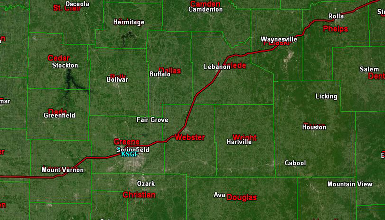 Iinterstate 44 corridor in Missouri KTTN Radar Map