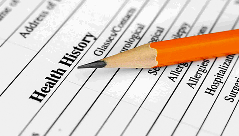 Pre-existing Medical Condition form or medical history