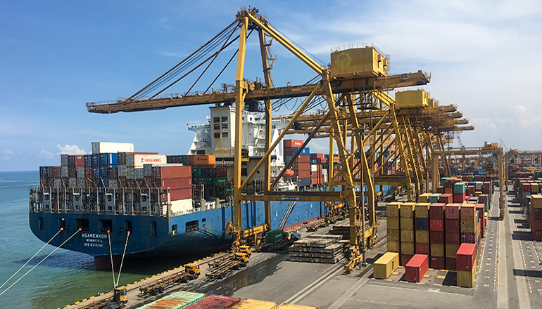 Shipping Dock or Export (cargo ship being loaded)