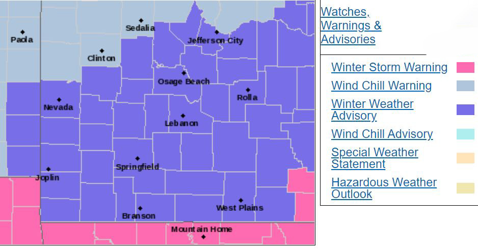 Southern Missouri watches and warnings map