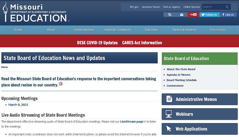 Missouri State Board of Education website