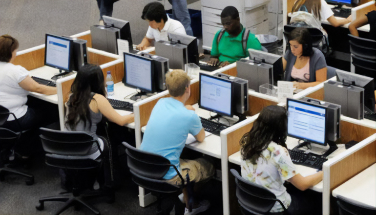 Students testing at computers taking MAP tests