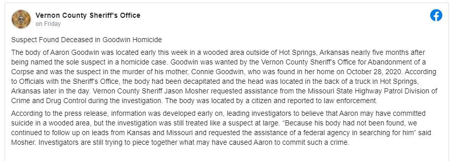 Vernon County Sheriff Facebook Post