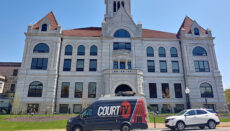 Court TV van parked at Courthouse