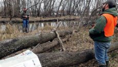 Ducks Unlimited Kerry Scott and Chris Daniel with MDC engineer at Schell Osage Conservation Area