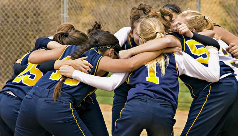 Girls Team a Huddle sports