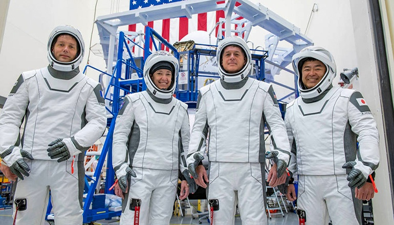 Photo Credit: SpaceX From left are, Mission Specialist Thomas Pesquet of the (ESA (European Space Agency); Pilot Megan McArthur of NASA; Commander Shane Kimbrough of NASA; and Mission Specialist Akihiko Hoshide of the Japan Aerospace Exploration Agency.