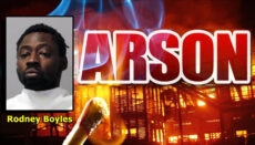 Arson News Graphic With Booking Photo of Rodney Boyles KC