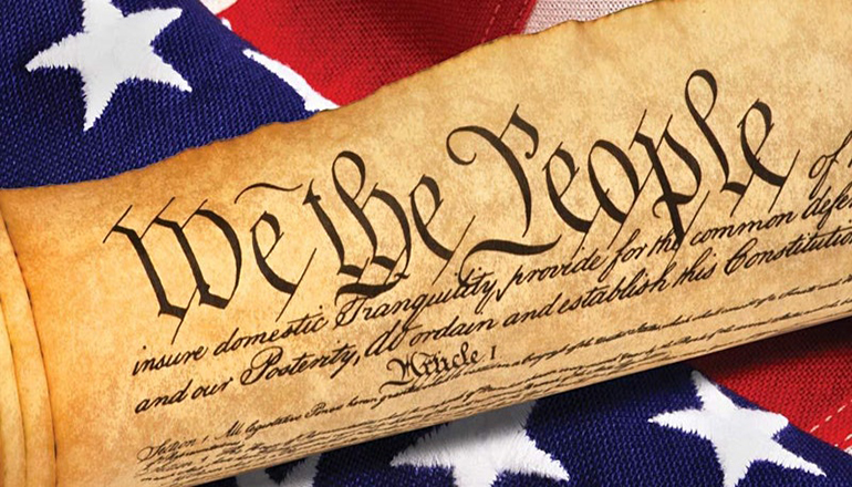 Constitution and American Flag