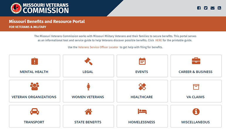 Missouri Veteran and Military Portal or website