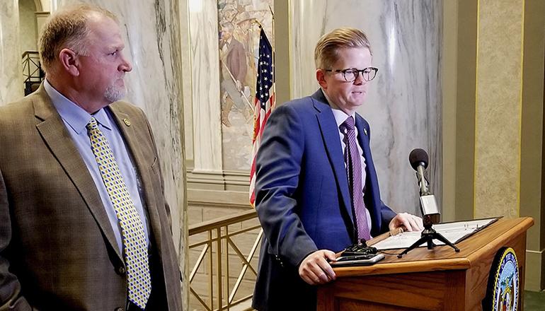 Senate President Pro Tem Dave Schatz, left, listens to an answer from Senate Majority Leader Caleb Rowden (Rudi Keller/Missouri Independent).