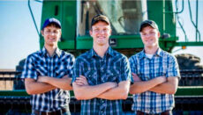 Brothers Kendal, Greg and Nathan Peterson, from left, create farm-themed parodies of popular songs to teach people about agriculture. (Photo Courtesy of Peterson family)