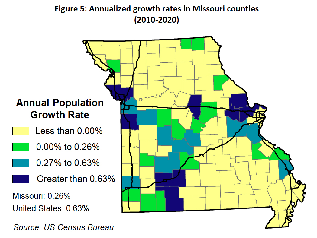 Missouri Growth Rates 2010 - 2021