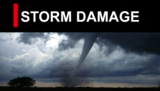 Storm Damage with tornado news graphic