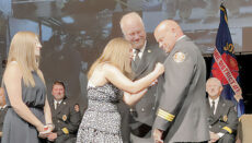 Deputy Fire Marshal of the Johnson County Fire District 1 Brad Ralston pinned
