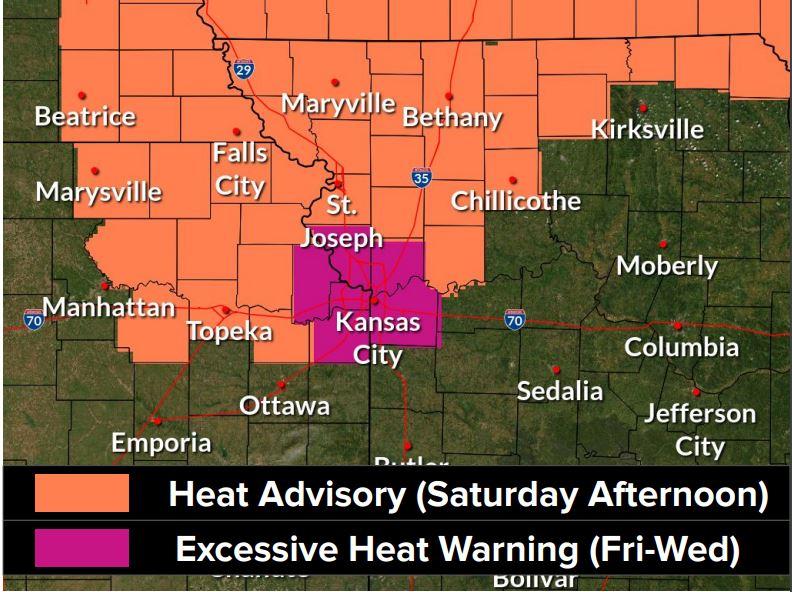 Heat outline north Missouri