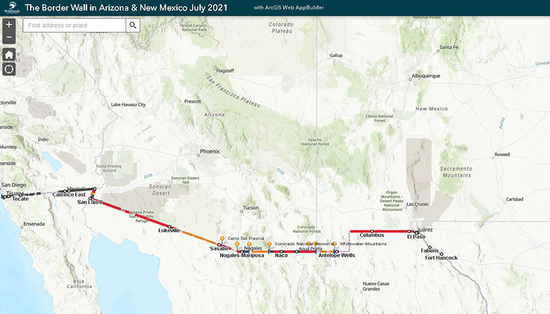 Map of The Border Wall in Arizona & New Mexico July 2021