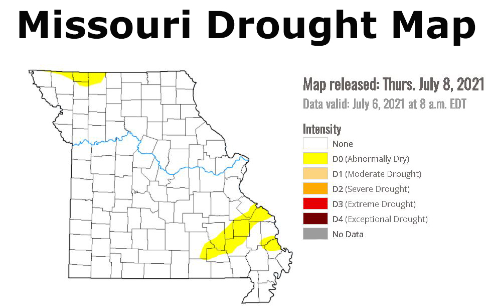 Missouri Drought Map released July 8, 2021
