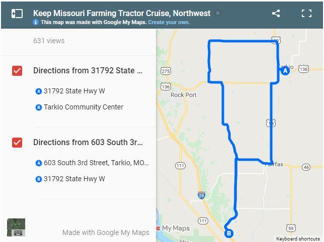 Missouri Farm Bureau Tractor Cruise Route 2021