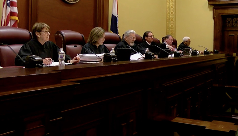 The Missouri Supreme Court hears arguments Tuesday over Medicaid expansion. (Screenshot from pool video provided by KMIZ-TV)