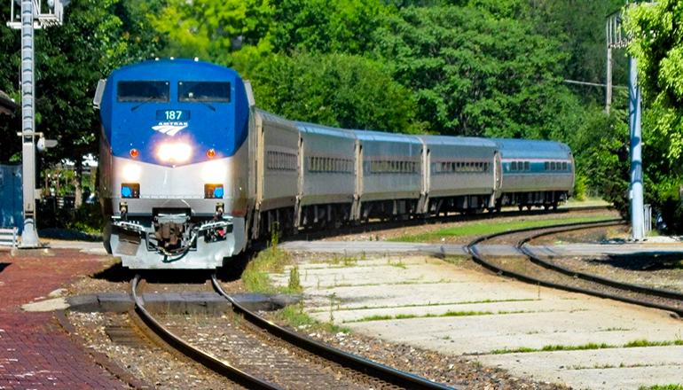 Amtrak Missouri River Runner train#313 pulling into Kirkwood Missouri Amtrak Station
