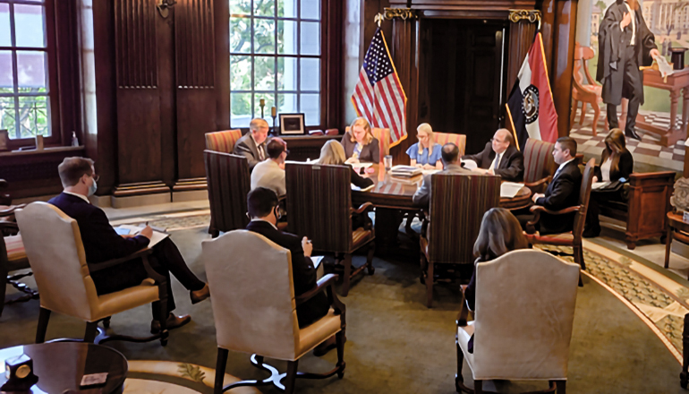 The Board of Public Buildings, chaired by Missouri Gov. Mike Parson, met on Sept. 13, 2021 (Photo courtesy Jason Hancock/Missouri Independent)