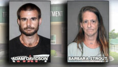 Booking photos of Adam Davidson and Barbara Strout from Trenton Police