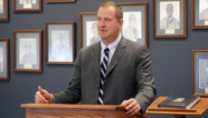 Missouri Attorney General Eric Schmitt speaks to a gathering of Missouri Highway Patrol officers in April 2021 (photo courtesy of the attorney general's office)