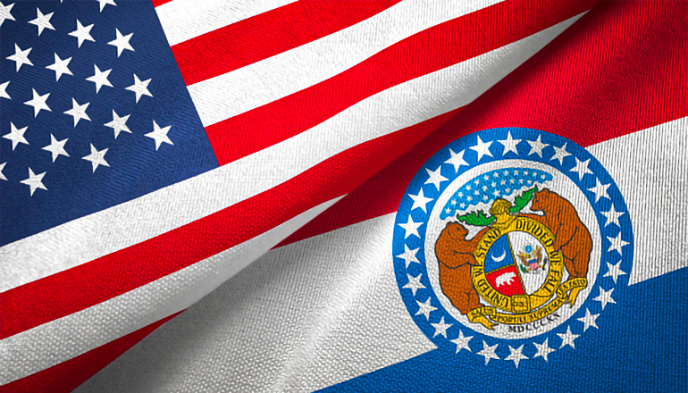 United States and Missouri Flags shown together