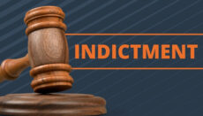 Gavel with word indictment news graphic