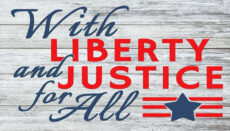 With Liberty and Justice For All sign graphic